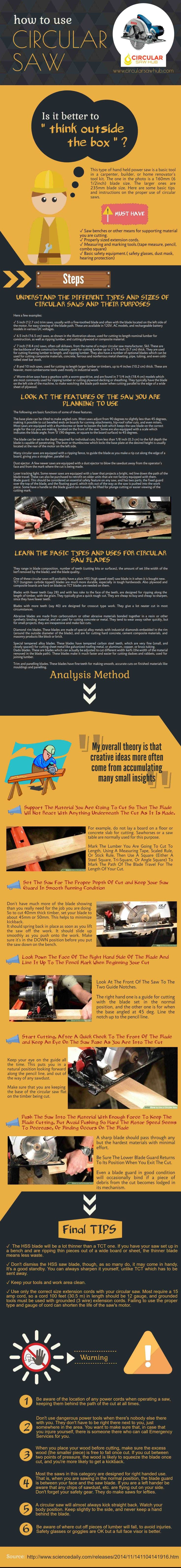 http://www.circularsawhub.com/ Circular saw is one of the power saw and essential tools for the carpenters, builders or woodworkers. Here I create an infographic about this topic. This infographic covers the complete guideline of how to use a circular saw.