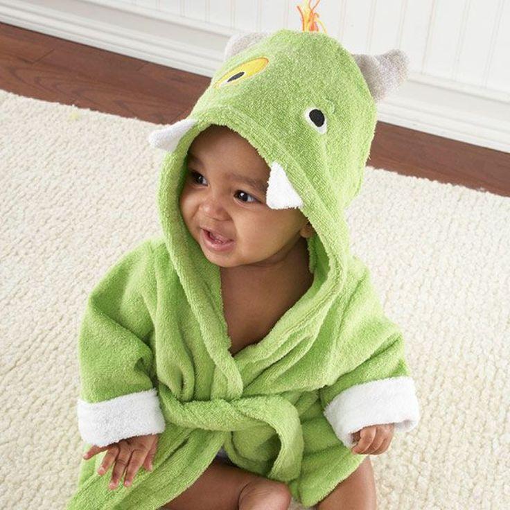 Peignoir bébé 100% coton vert petit monstre