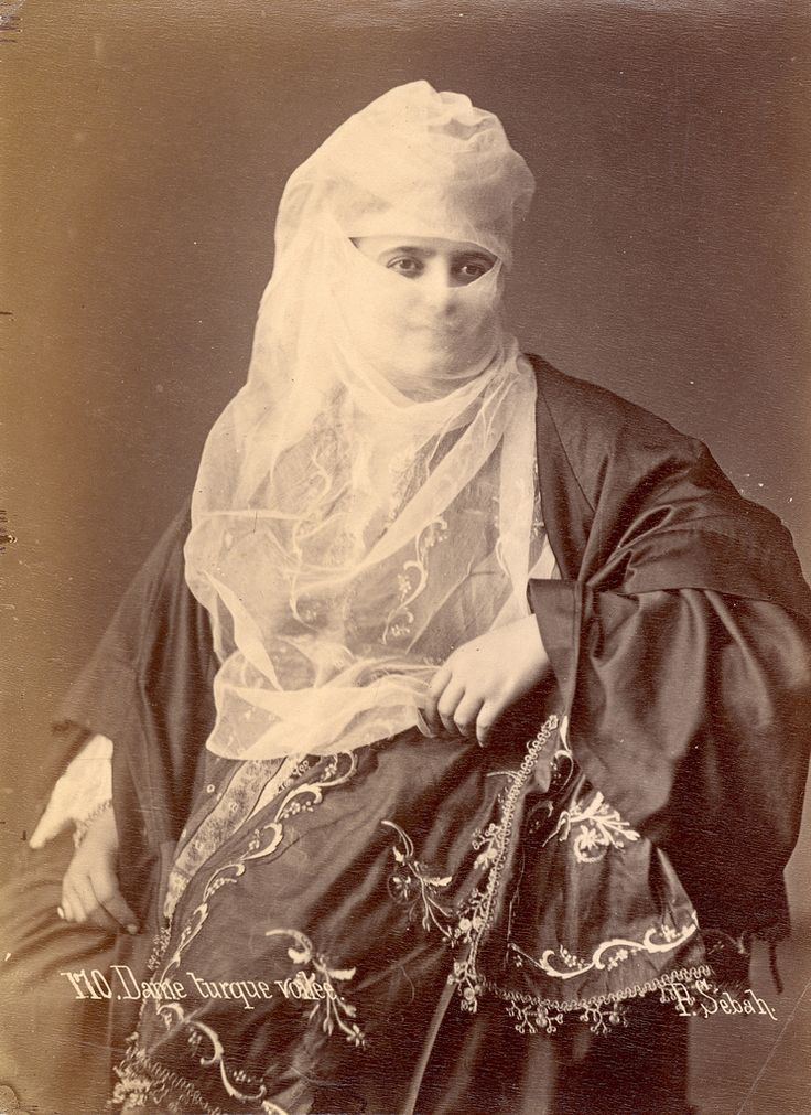 1880s Another Veiled Turkish Lady - Albumen Photograph by Pasqual Sébah