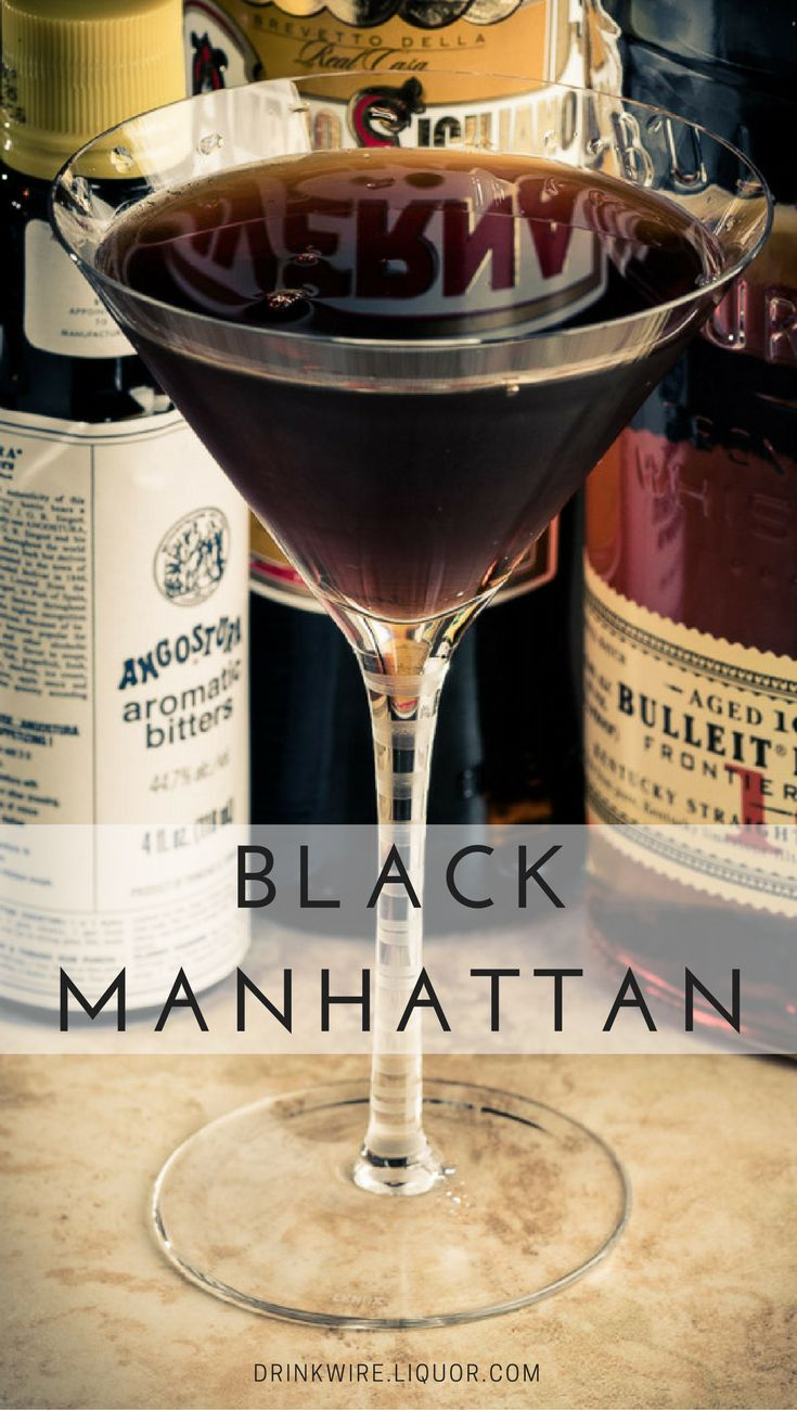 The Black Manhattan sticks pretty close to the original Manhattan formula, substituting an amaro (Averna) for the usual sweet vermouth. The resulting flavor is quite unlike the standard Manhattan—less whiskey-driven, more bitter and earthy, and much more herbal. The name comes from the very dark coloration of the Averna. #Manhattan