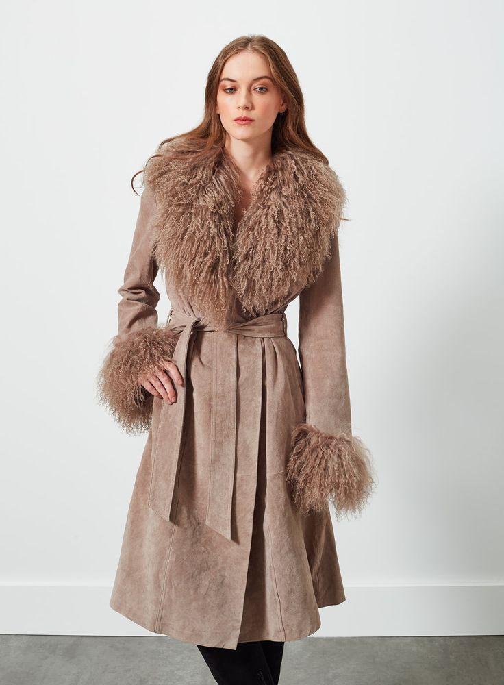 Manteau femme en simili daim