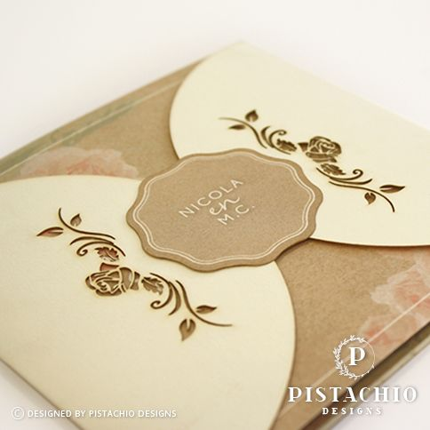 Vintage rose designed laser cut wedding invitation made by www.pistachiodesigns.co.za
