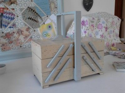 1940's Wooden Sewing Box painted cream and blue, made in Germany.                                                                                                                                                                                 More
