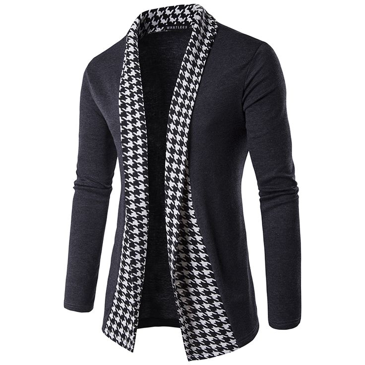 New Arrival Men Long Cardigan Autumn Wear Houndstooth Design Pullover Men Casual Slim Sweater 2 Colors cardigan men