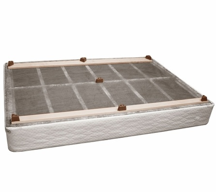A brilliant invention!  Convert a box spring to a platform-look bed!  Add rails & slipcover... so awesome. $166