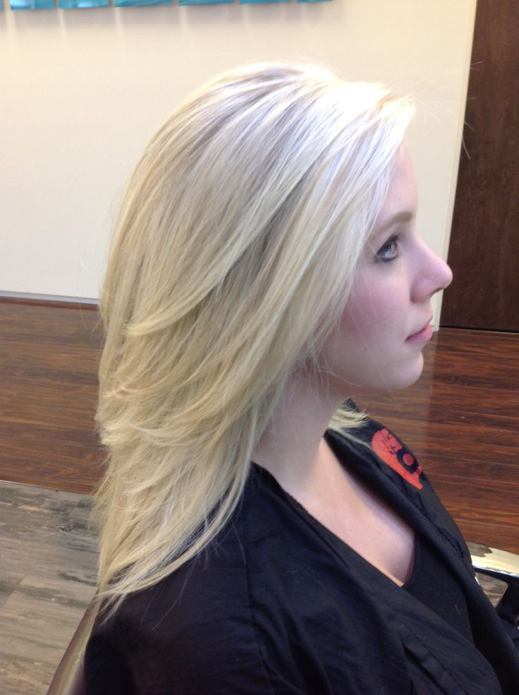 Bright Blonde Pattern Matching Highlights On A Blonde Base With Medium Length Layers