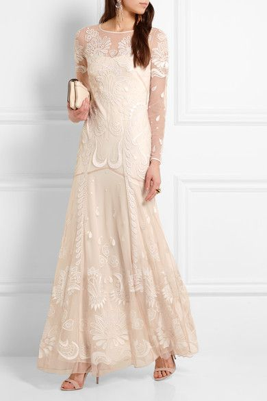 Temperley London - Embroidered Tulle Gown - Ivory - UK14