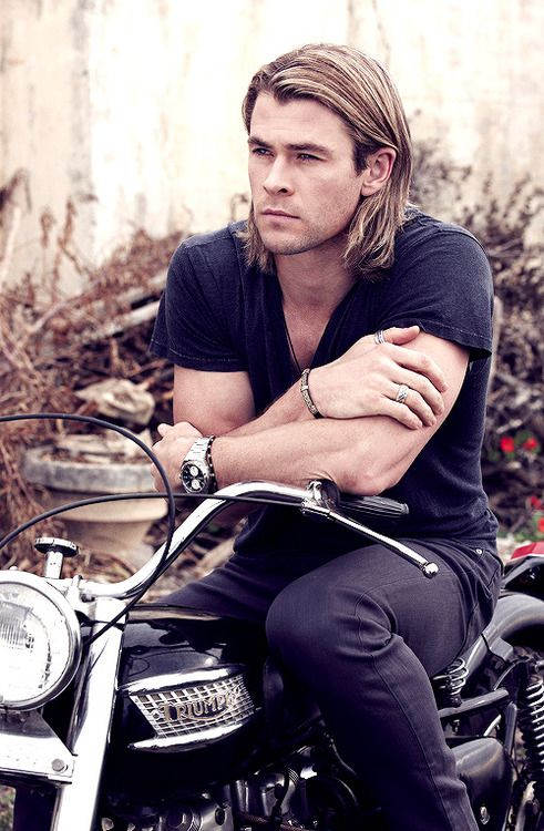 "#chris hemsworth-- LOVE him with ""Thor"" hair. I don't usually do heroes with long hair, but I'm going to have to put one like this in somewhere. *drool*"