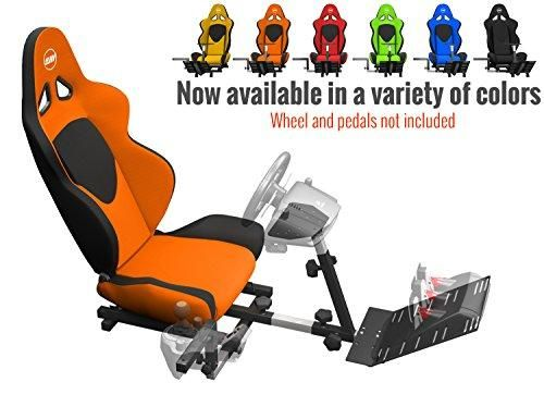 Openwheeler Racing Wheel Stand Cockpit Orange on Black | For Logitech G29 | G920 and Logitech G27 | G25 | Thrustmaster | Fanatec Wheels | Racing wheel & controllers NOT included