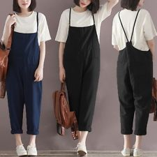 UK STOCK S-5XL Vintage Women Casual Loose Long Jumpsuit Overalls Harem Trousers