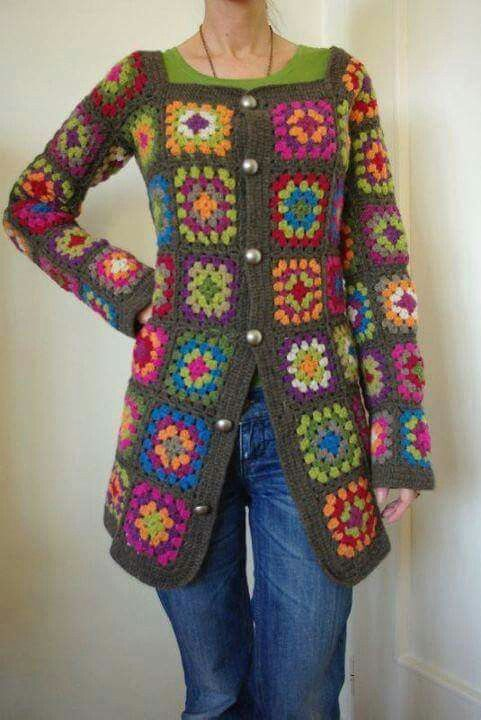 Crochet granny square jacket, pic only.