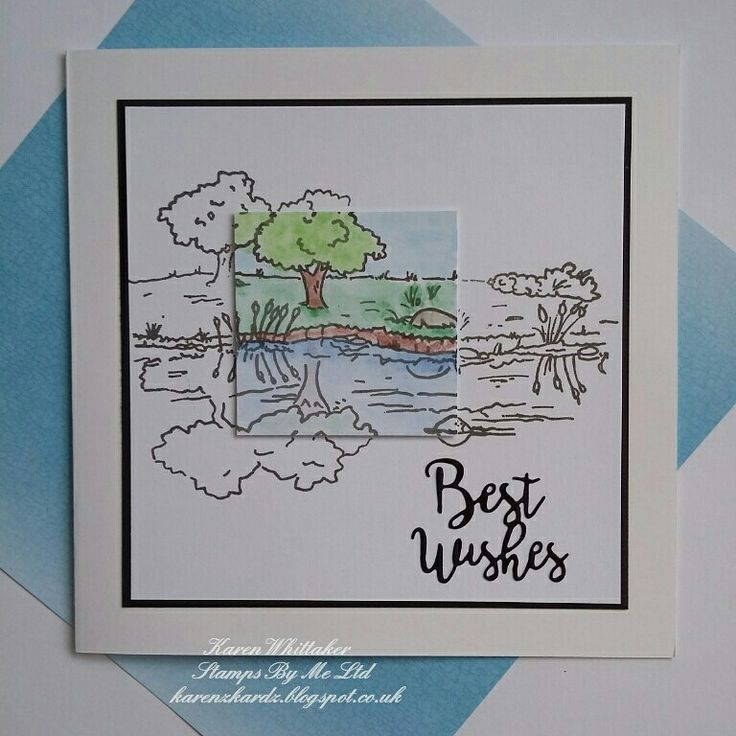 By the Lake Postcard stamp from Stamps By Me  #stampsbyme #dtsample #bythelake #postcard #stamps #watercolour #paints #card #creative #craft #ilovetocraft #creativity #karenzkardz