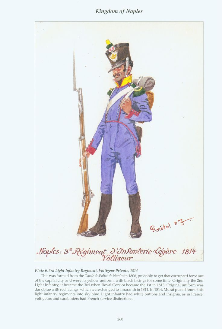 Kingdom of Naples: Plate 6. 3rd Light Infantry Regiment, Voltigeur Private, 1814.