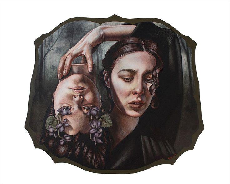 Wood print portrait tattoo artist models
