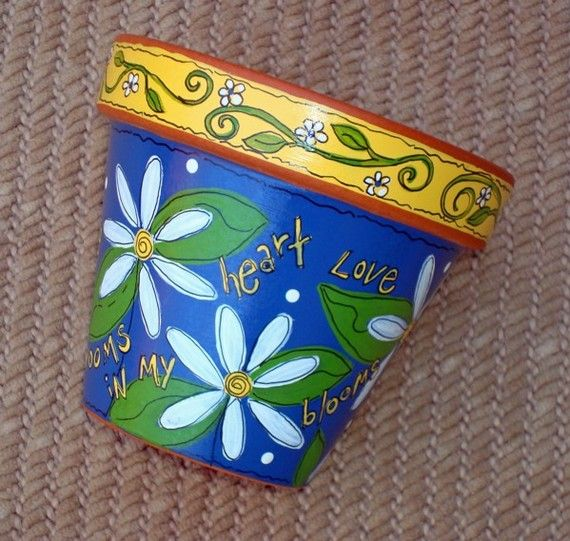 Hand Painted Terracotta Pot Love Blooms 4 Inch by ThePaintedPine, $20.00