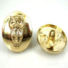 """12pcs 7/8"""" Gold Metal Shanked Buttons Owl Engraved Jeans Buttons Sewing Buttons Scrapbooking Crafts 22.0mm(China (Mainland))"""