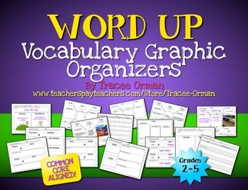 Common Core Vocabulary Graphic Organizers - 20 pages of resources that can be EDITED/Customized in Word or Powerpoint! {Grades 2 - 5; priced}