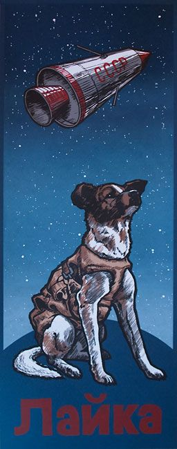 """Laika. Phineas X. Jones (Octophant). 9.5"""" x 25"""" Screenprint. Seven Screens on French Nightshift Blue 100 Lb Cover. Edition of 38. Signed & Numbered."""