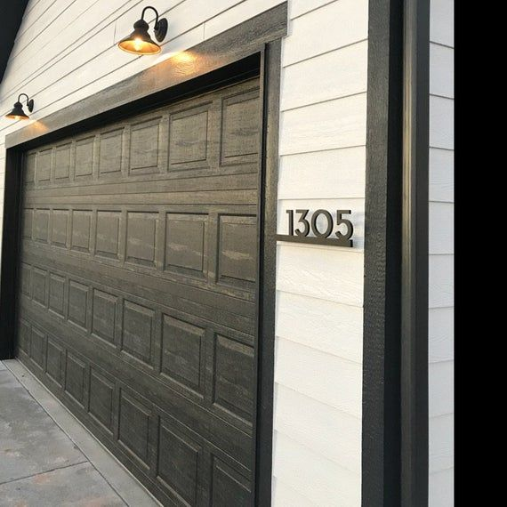 Modern House Numbers Black With Black Acrylic Contemporary Etsy Modern House Numbers Black Black Trim Exterior House Modern House Number