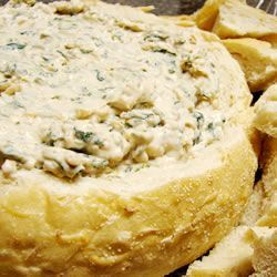 Best Spinach Dip Ever @ Allrecipes.com --I use a package of Knorr Vegetable Mix instead of the leek soup mix--add extra mayo or sour cream to keep it creamy Its a family favorite with bread or chips!