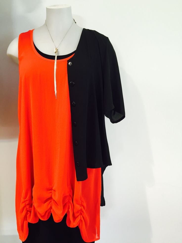 Tahlia top and the Heron Cardi @ Key Black. Sizes 10-24.  27a Colombo Street. Christchurch.