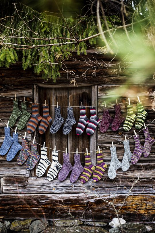 Knitted socks, awesome & colorful. I'd love to see men wearing those…