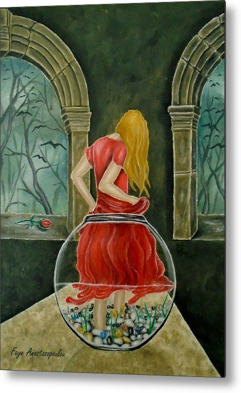 Metal Print, Painting, fishjar,fishbowl,girl,woman,female,feminine,figure,red,dress,long,hair,fantasy,medieval,building,arches,interior,night,mystical,psychedelic,whimsical,vibrant,vivid,colorful,impressive,cool,beautiful,delicate,magical,classical,mystery,dreamy,dreamlike,contemporary,imagination,surreal,figurative,contemporary,cool,weird,unique,jar of wonders, fine,oil,wall,art,images,home,office,decor,artwork,modern,items,ideas,for sale,fine art america,Jar Of Wonders