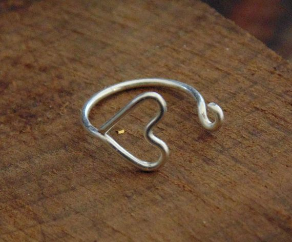Heart Nose Ring. sterling silver nose hoop. by LarryJewelryShop