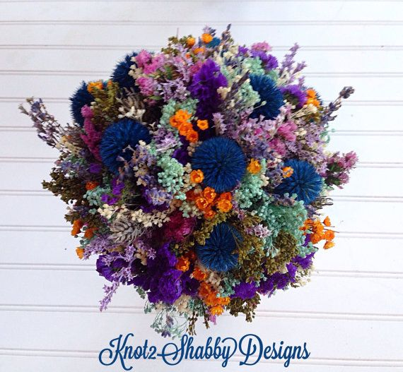 Dried  large wildflower bridal bouquet - dried flowers - dried bridal bouquet - blue - purple - spring wedding