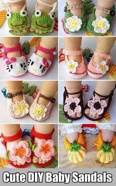 Cute Baby Sandals  - DIY: Interesting Childish Ornaments ✿⊱╮Teresa Restegui http://www.pinterest.com/teretegui/✿⊱╮