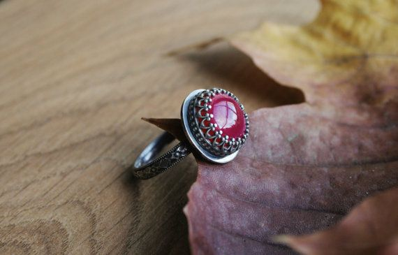 The Autumn Jewel,hot pink Chalcedony gemstone ring in Sterling Silver by ErlingeJewelry