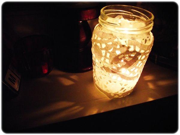 Homemade lanterns. I'd twist twine around the top. :)