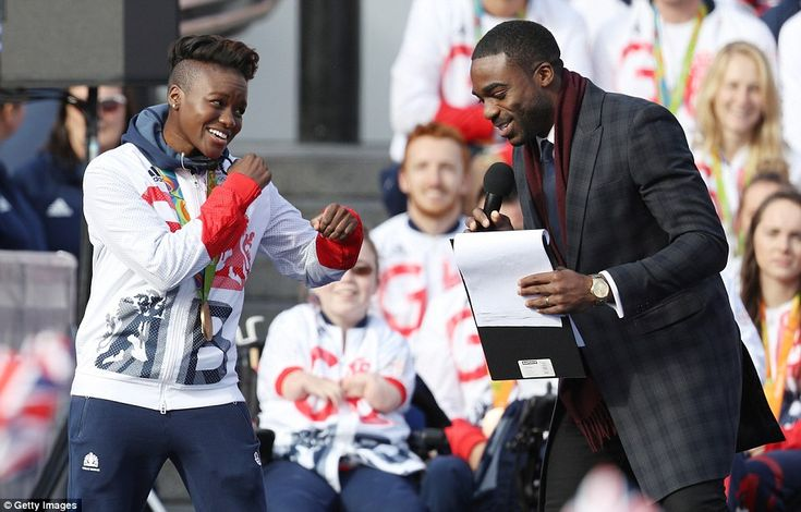 Nicola Adams shows off her skills by indulging in a bout of shadow boxing as she is interviewed by presenter Ore Oduba