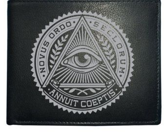 NOVUS ORDO SECLORUM- New World Order Evil Eye- Men's Leather Wallet from Fat Cuckoo WBF1140