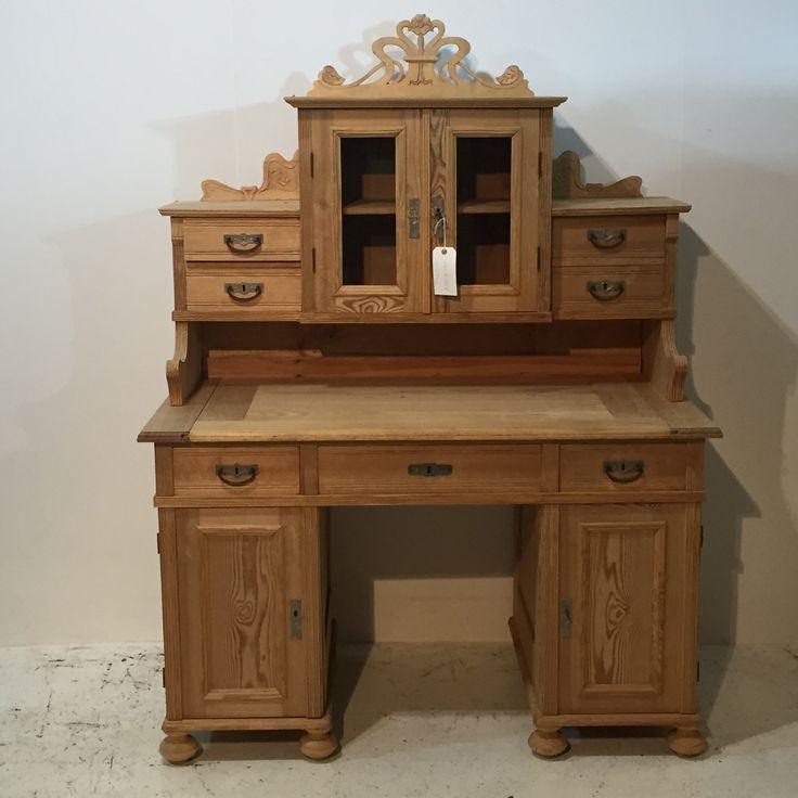 Large Ornate Antique Pine Desk (T6203D)