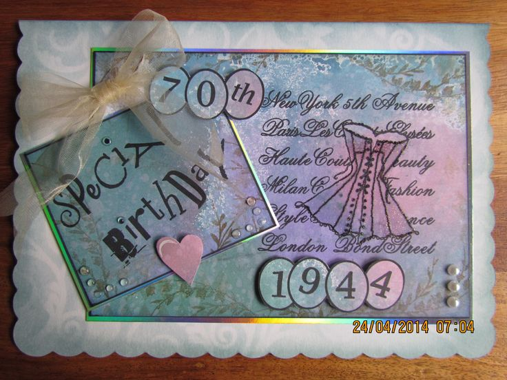 70th Birthday card made using Clarity stamps & stencils & Cosmic Shimmer inks