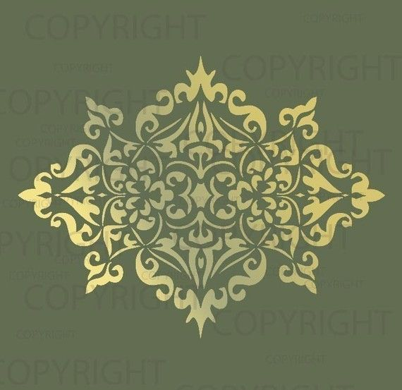 large wall Damask Stencil Pattern faux mural 1023 by Lightsforever, $11.75