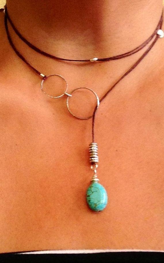 nice No clasps wrap around lariat turquoise choker, long, bohemian, boho chic,hippie chick, st. silver beads