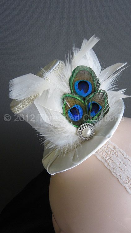 Mini Top Hat  Ivory Mini Top Hat  Peacock by threadedcreations, $35.00