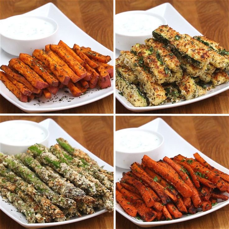 Veggie Fries4 ways - Sweet Potato Fries, Zucchini Fries, Carrot Fries and Asparagus Fries
