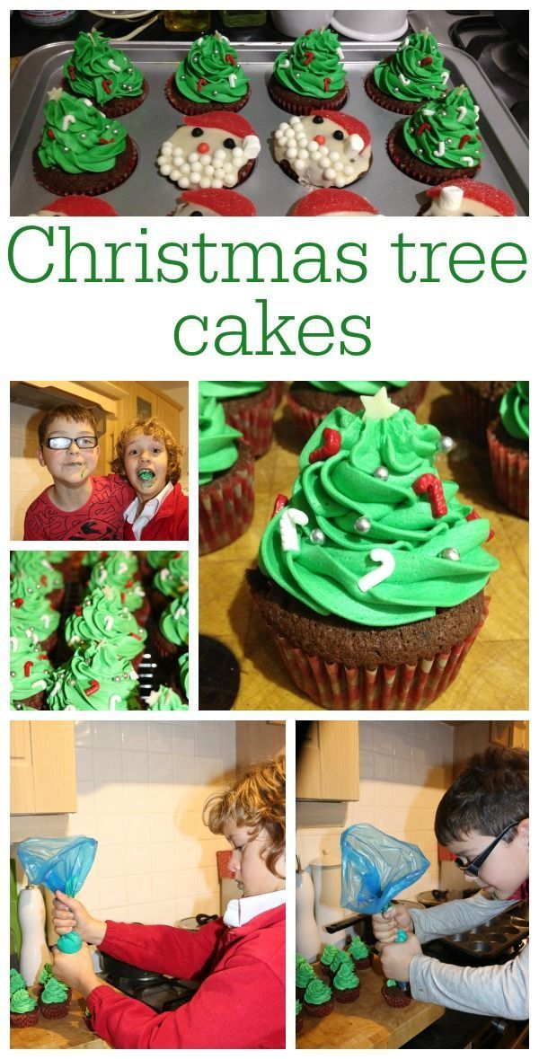 Cooking with kids, how to make Christmas Tree cupcakes.  Kids in the kitchen