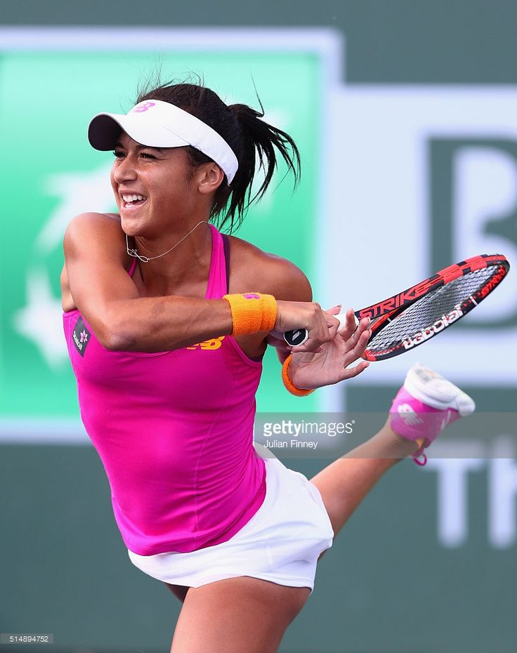 Heather Watson of Great Britain in action in her match against Monica Niculescu of Romania during day five of the BNP Paribas Open at Indian Wells Tennis Garden on March 11, 2016 in Indian Wells, California.