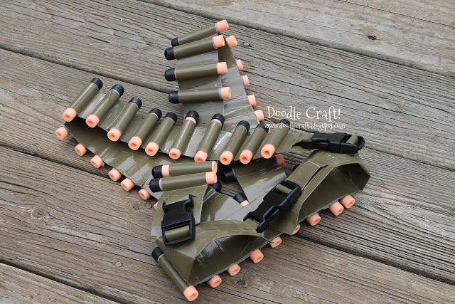 Doodle Craft...: Duct Tape Bullet Bandolier Belt and Utility Vest - meant for a child, but could be adapted to adult size. The 6-year-old and I need some for our epic Nerf gun fights. :)