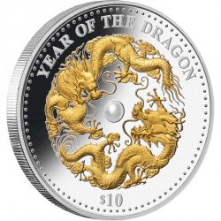 Fiji 2012 - 10$ Year of the Dragon with Pearl - 1 oz. Silver Proof Coin