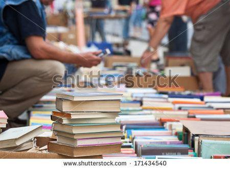 books on antiques fair - stock photo