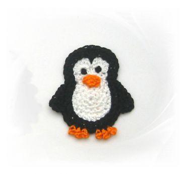 gehäkelter Pinguin klein, Applikation Pinguin, Häkelapplikation, penguin, Aufnäher                                                                                                                                                                                 Mehr