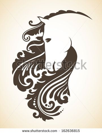 Ornamental decorative horse with a beautiful mane