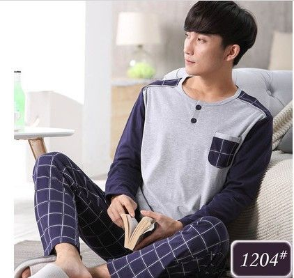Pajamas For Men Autumn Sleepwear Pullover Long-Sleeve Pajama Set Cotton Casual Mens Pyjamas Plus Size 3XL