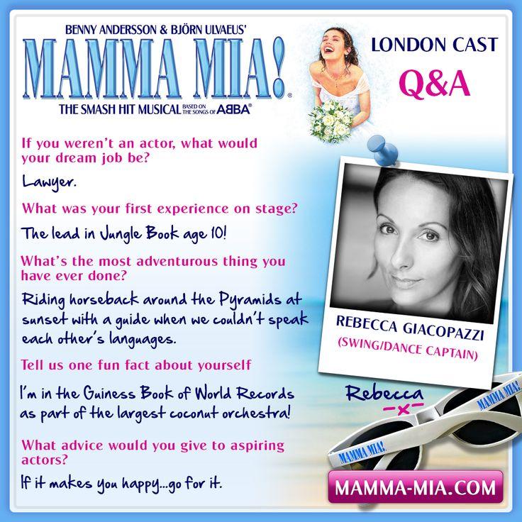 Say hello to the wonderful Rebecca Giacopazzi from the MAMMA MIA! London production! Rebecca is our Dance Captain and a swing member.  MAMMA MIA! London INFO/TICKETS: www.mamma-mia.com  #MammaMiaMusical #MammaMiaLondon #MeetTheCast