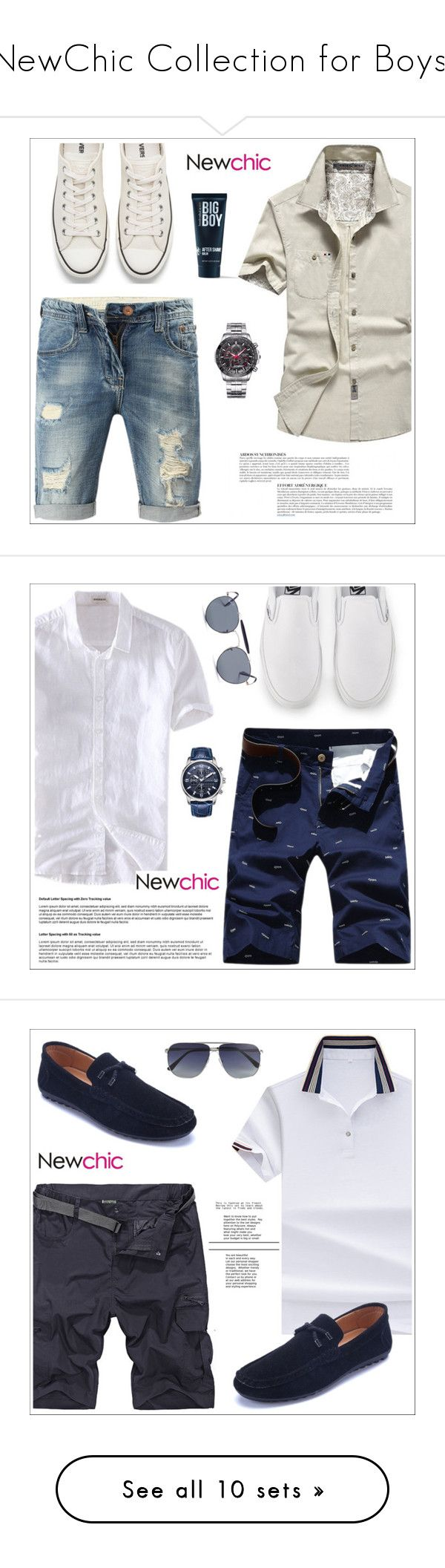 """NewChic Collection for Boys!"" by sabinakopic ❤ liked on Polyvore featuring Converse, Anja, 21 Men, men's fashion, menswear, Vans, Ray-Ban, Tom Ford, Baxter of California and Skechers"